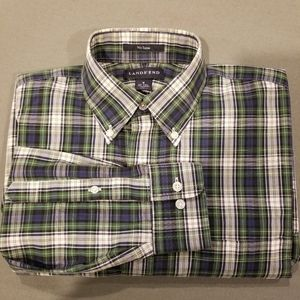 Lands' End no iron button down plaid. Size small